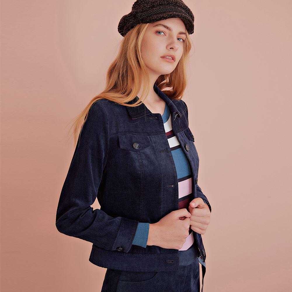 OUWEY歐薇 率性格紋拼接燈心絨短版外套(藍)J58421