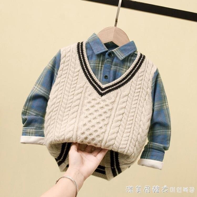 男童秋冬毛衣兒童2020新款洋氣韓版寶寶假兩件加厚小童冬裝針織衫