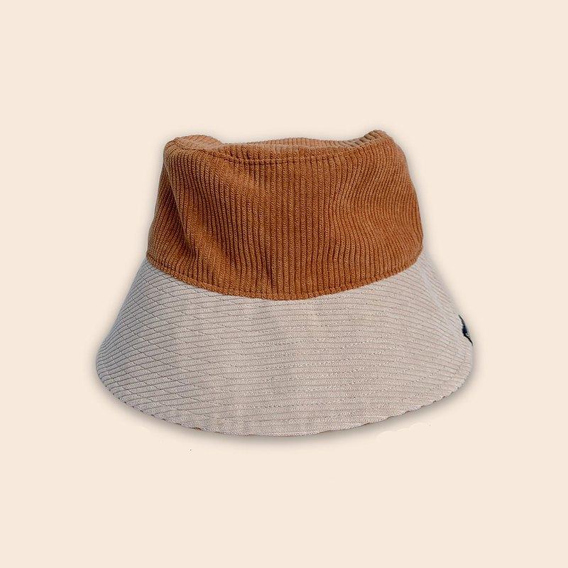 米色燈芯絨水桶帽-棕色