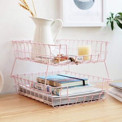 瓣瓣 桌面鐵藝收納筐化妝品面膜整理架少女心粉色多層疊加置物籃