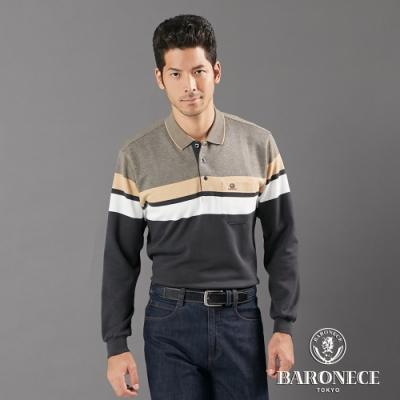 BARONECE 百諾禮士休閒商務  男裝 刷毛經典橫條長袖POLO衫--黑灰色(1206272-98)