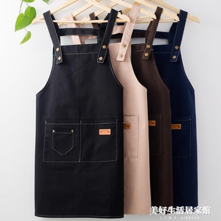 美甲奶茶店帆布圍裙定制logo印字可愛日系時尚女家用男廚房工作服