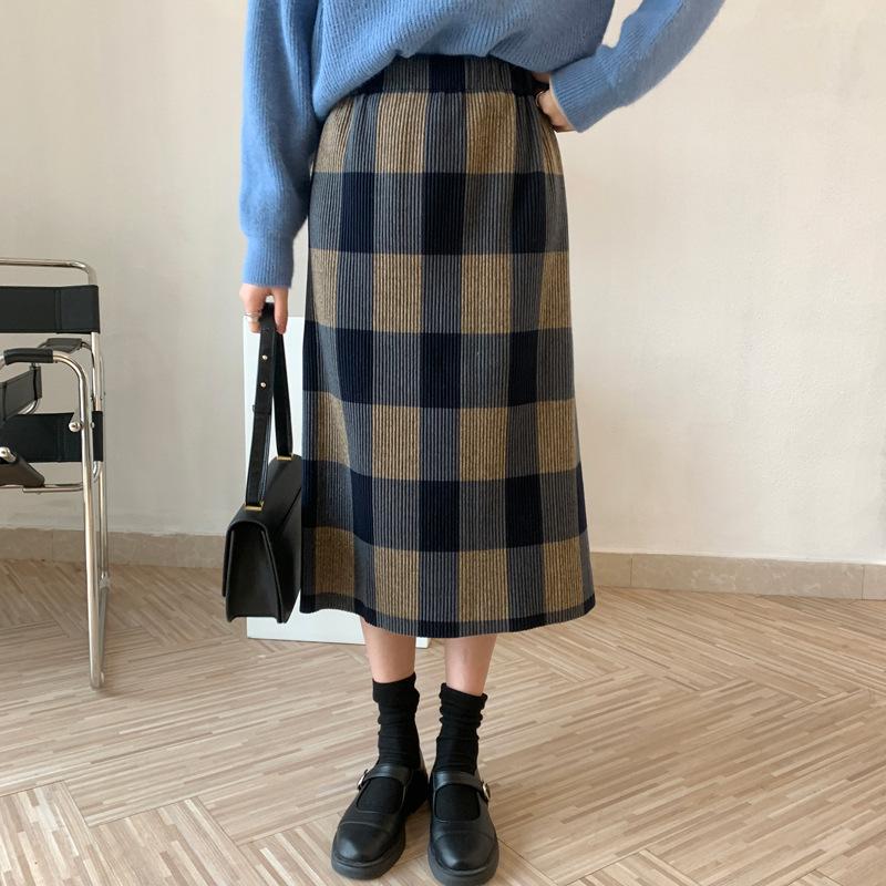 【missy shop】縱橫相遇格裙-0628