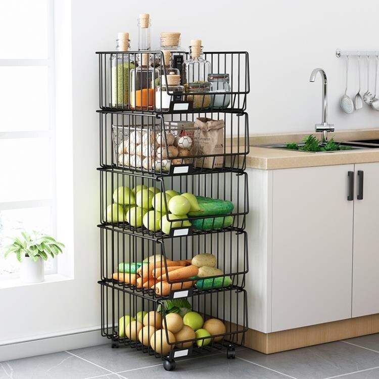 廚房蔬菜置物架落地多層放菜籃子夾縫儲菜筐菜架子放水果收納筐架 NMS