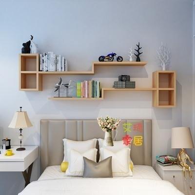牆上置物架 客廳牆面裝飾書架牆上置物架臥室床頭隔板壁掛式簡易收納創意格子T