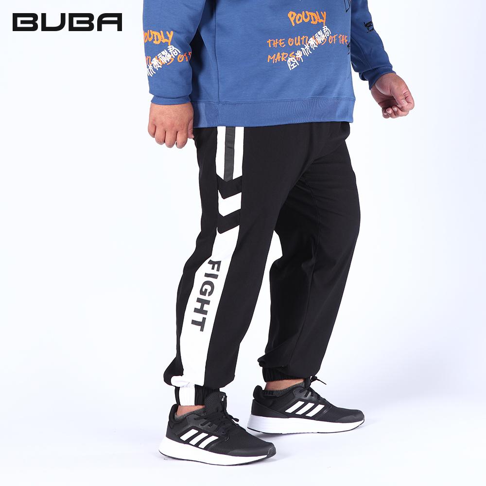 【BUBA】大尺碼黑色織帶剪接鬆緊腰抽繩彈性束口褲2L-5L 16618-88