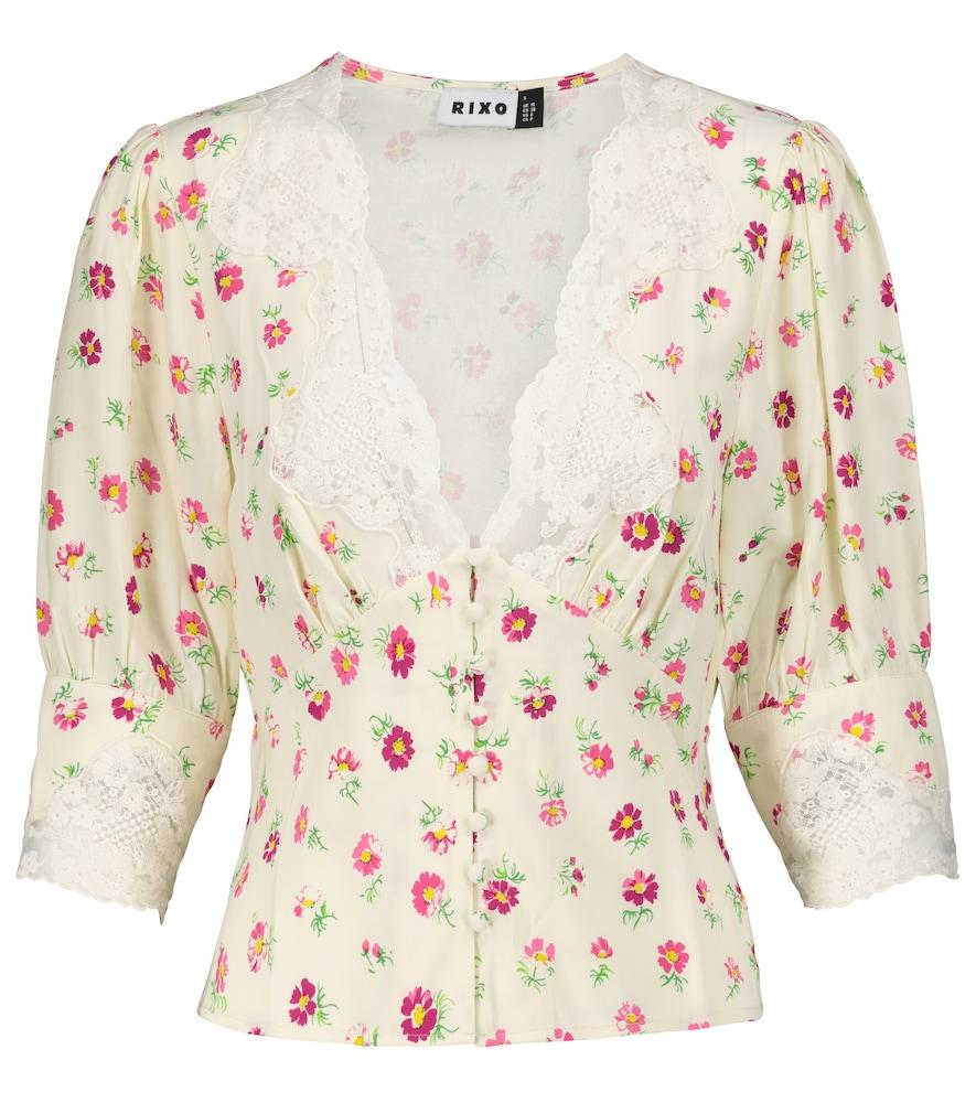 Amanda lace-trimmed floral blouse