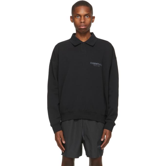 Essentials 黑色徽标长袖 Polo 衫
