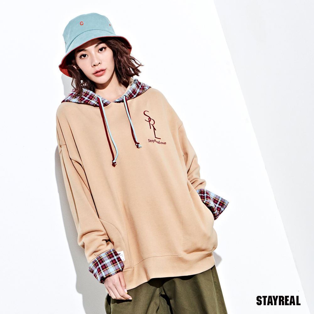 STAYREAL LOVER拼接格紋帽T