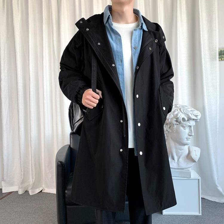 2020秋季風衣男士韓版潮流帥氣中長款連帽夾克過膝春秋款寬鬆外套