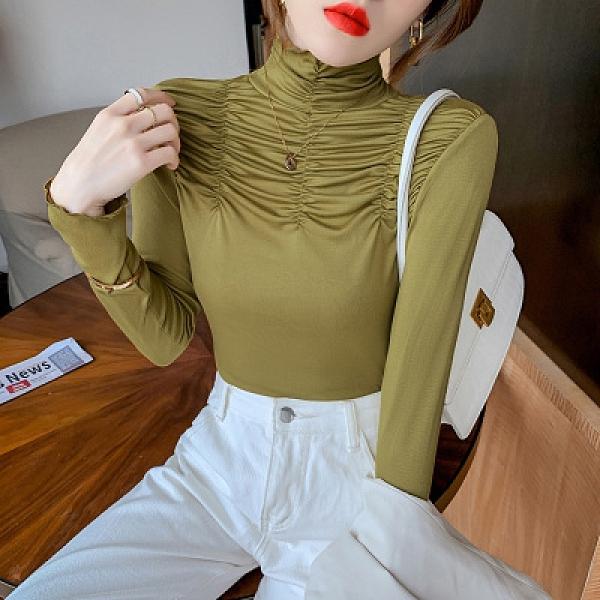 長袖性感T恤~設計感褶皺修身長袖高領T恤打底衫女洋氣內搭上衣HF211日韓屋
