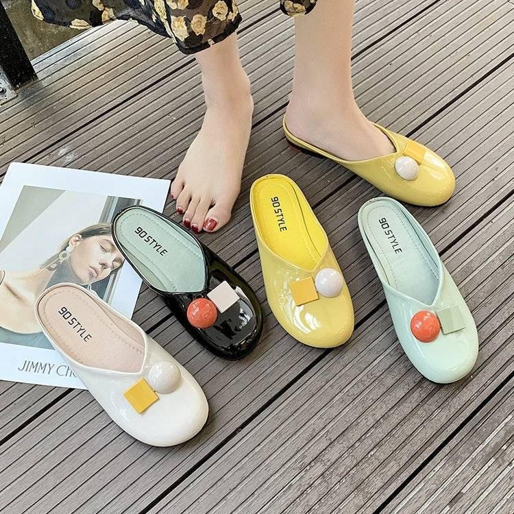 【上新超值】懶人包頭半拖鞋女夏外穿平底網紅涼拖百搭2020年新款時尚穆勒半托