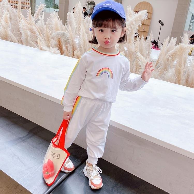夯貨折扣▶女童套裝 女童秋裝洋氣套裝新款兒童夏季女寶寶秋季休閒童裝時髦-盛行華爾街