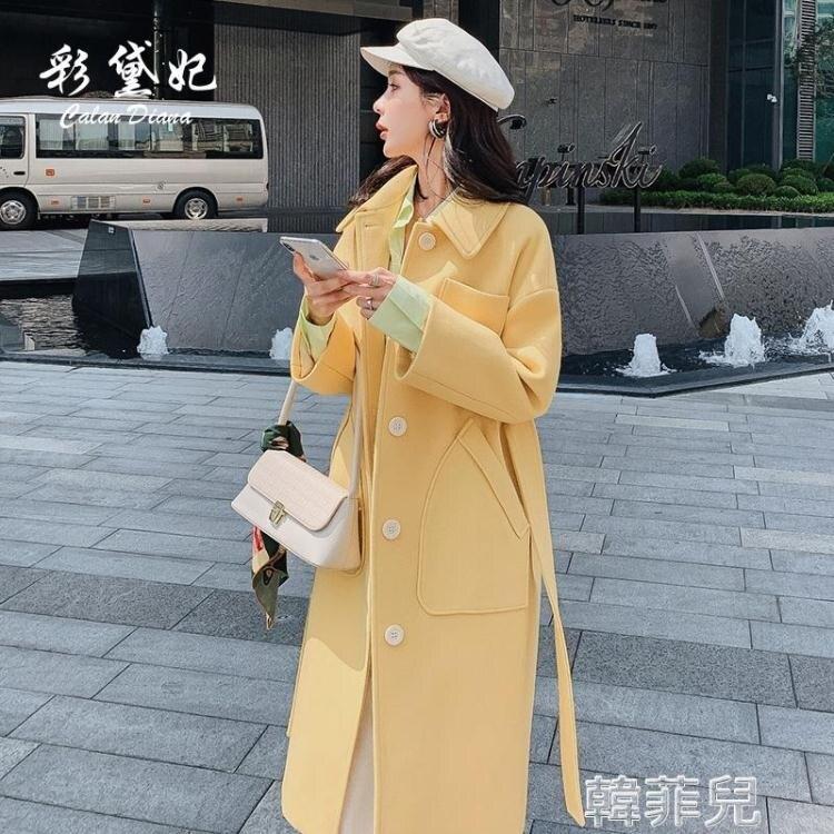 毛呢外套 大衣女年新款韓版顯瘦時尚中長款休閒毛呢外套單排扣呢子大衣 【新年特惠】