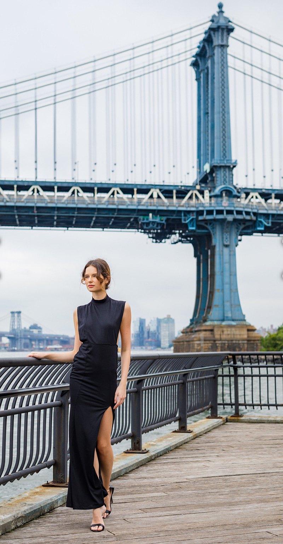 設計師紐約參展作品 側胸縷空 背透紗開衩旗袍感黑禮服