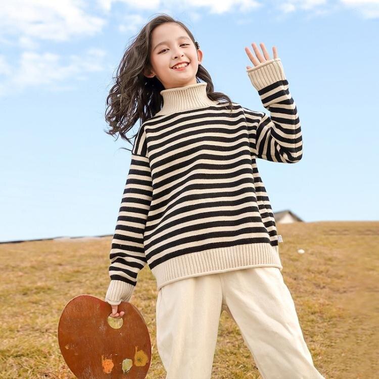女童毛衣 童裝女童毛衣刷毛2021新款兒童秋冬加厚中大童高領打底衫女孩洋氣 家家百貨