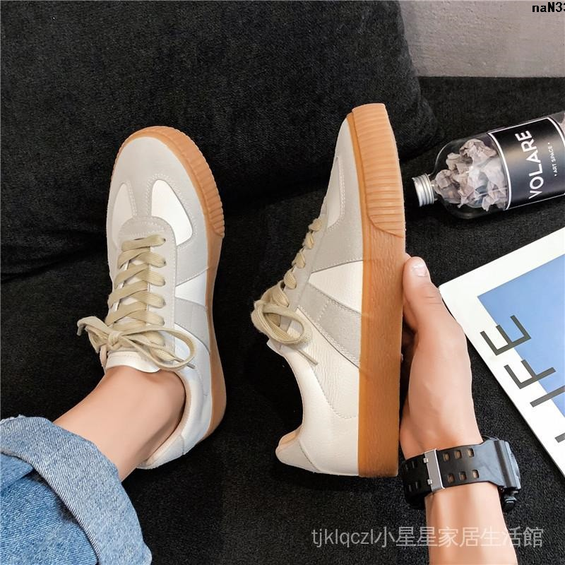 鞋子秋季底德訓軟皮潮情侶鞋原版一對牛筋男2020牛膠款小白底板鞋︸