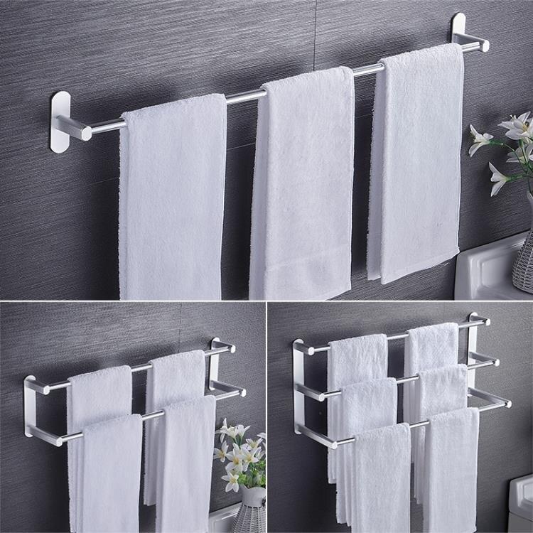 毛巾桿免打孔衛生間加長浴室涼雙桿壁掛毛巾架廁所單桿廚房太空鋁