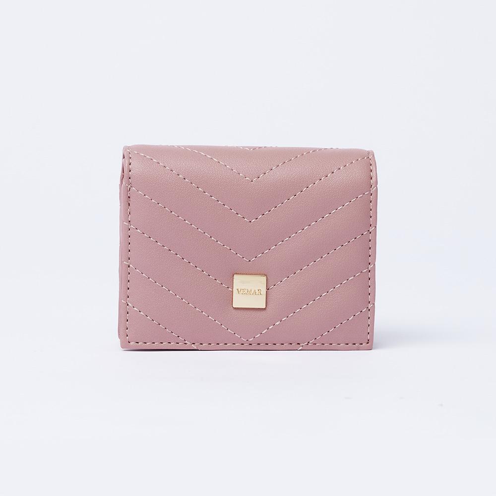 VEMAR經典時尚V紋對折短夾(芭蕾粉)
