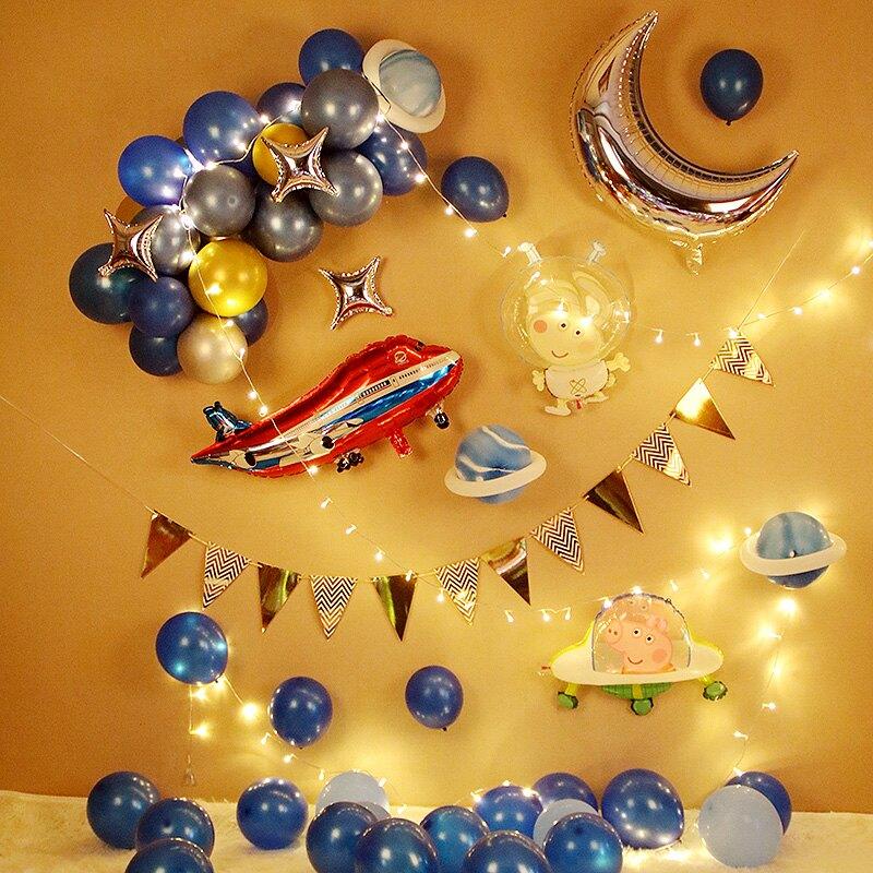 氣球 氣球派對 兒童太空主題生日布置男孩派對氣球快樂寶寶一周歲背景牆場景裝飾『CM43347』