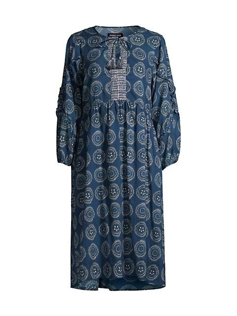 Medallion-Print Ruffle Tea Length Shift Dress