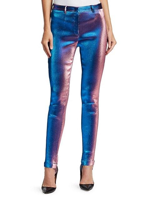 Straight-Leg Lurex Shimmer Pants