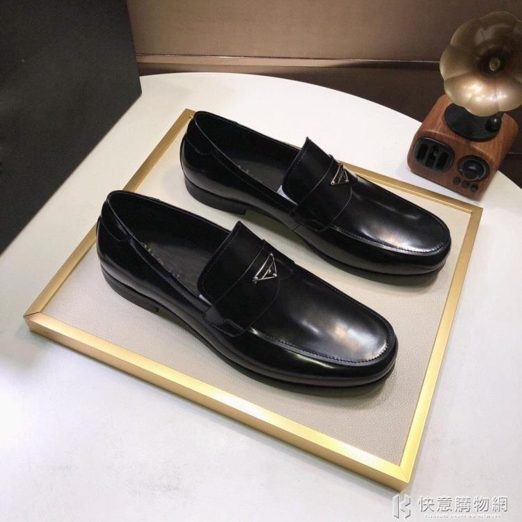 韓版皮鞋男一腳蹬亮面漆皮樂福鞋男英倫小皮鞋男百搭懶人休閑鞋潮