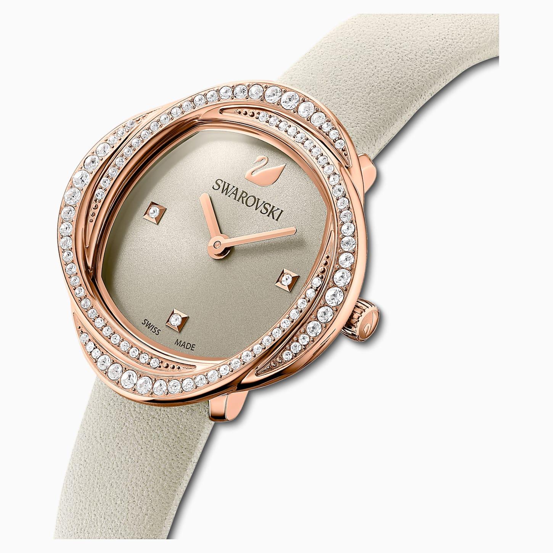 SWAROVSKI施華洛世奇 花朵綻放腕錶    真皮錶帶- 灰色- 玫瑰金  5552424