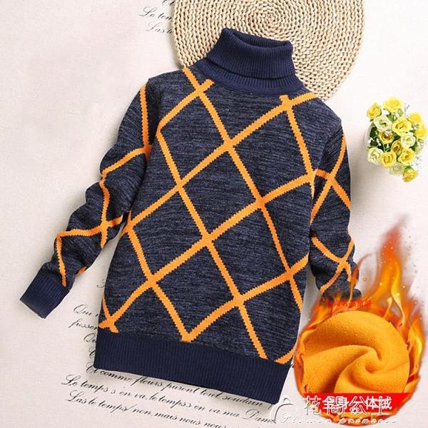 毛衣男童高領毛衣加絨秋冬新款兒童針織衫男寶寶一體絨保暖打底衫 快速出貨