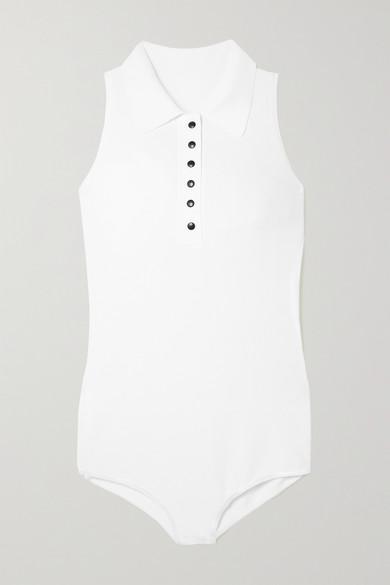 Alaïa - 弹力针织连体紧身衣 - 白色 - FR42