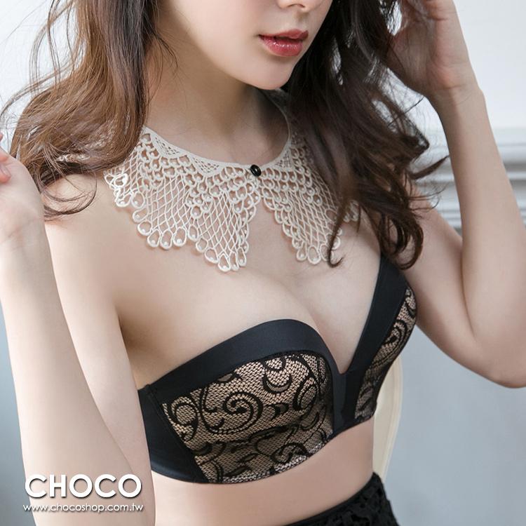 輕戀漫舞‧無肩帶深V緞面包邊蕾絲內衣(黑色) 70B~80C Choco Shop