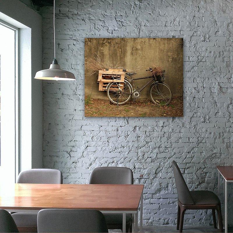 腳踏車/無框複製畫/原木實木背框/阿飛攝影A0016