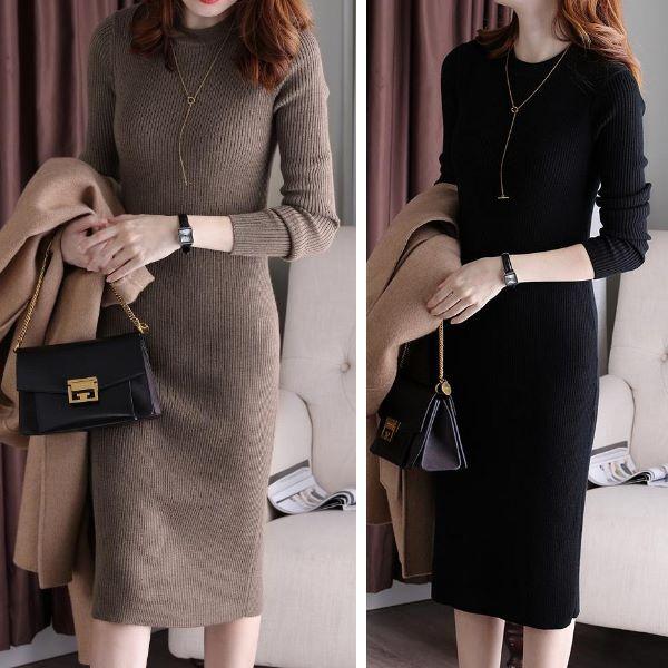 韓版氣質簡約百搭長袖針織衫連身裙洋裝-凱西娃娃