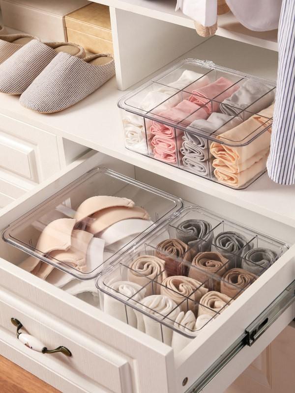(shm)內衣收納盒襪子內褲整理盒宿舍衣柜神器分隔盒亞克力分格儲物盒