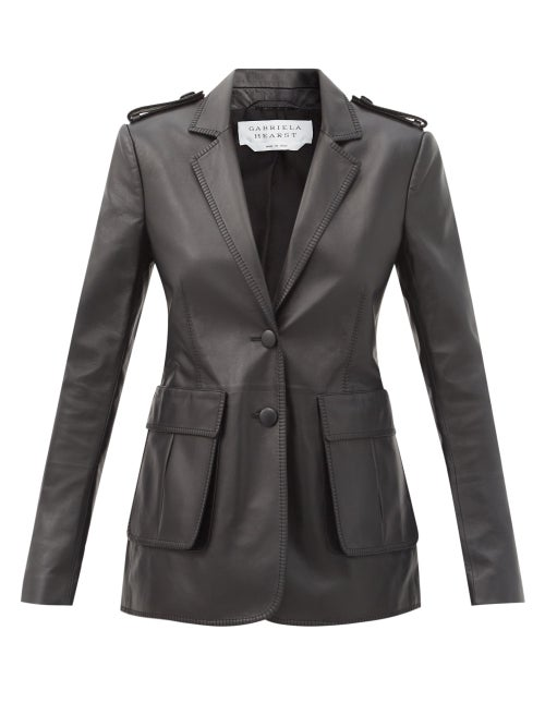 Gabriela Hearst - Louisa Single-breasted Leather Blazer - Womens - Black
