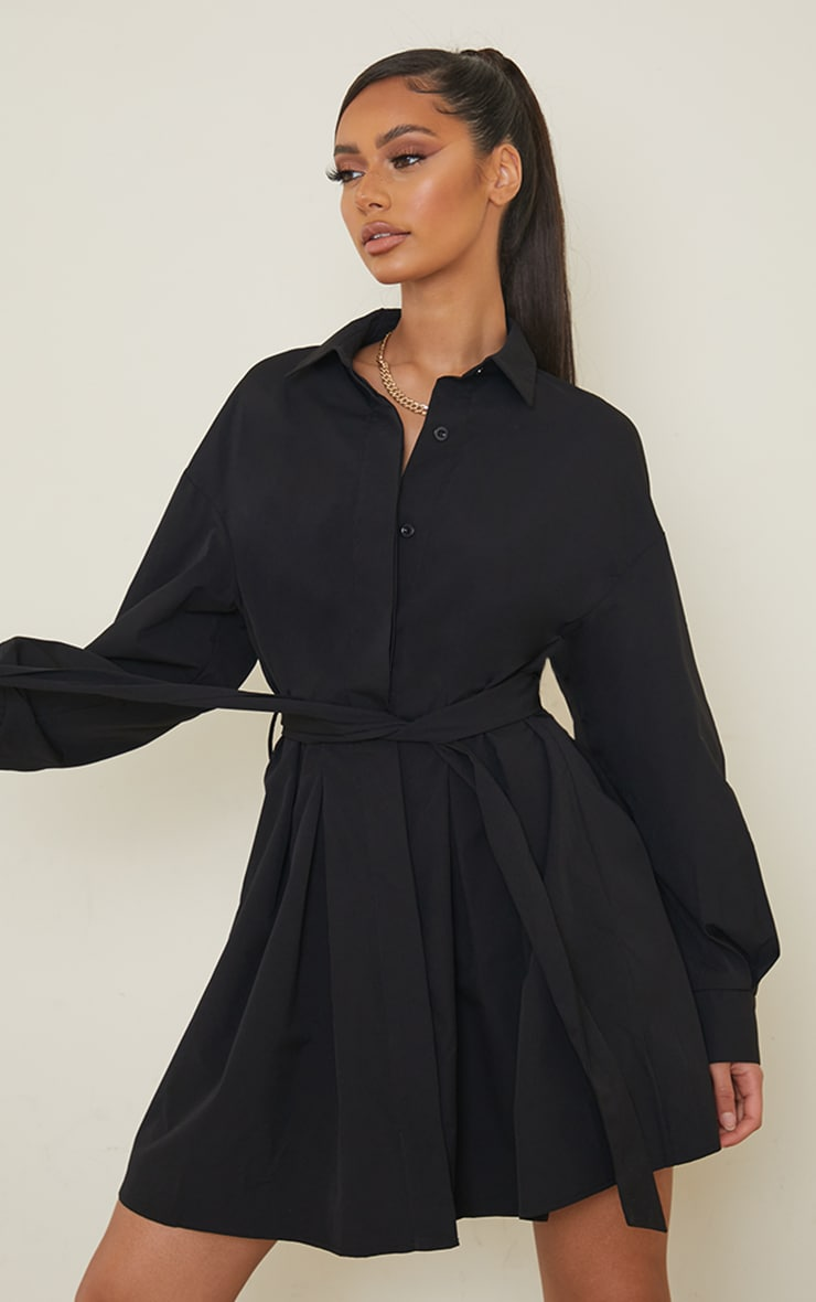 Black Pleated Detail Button Down Shirt Dress