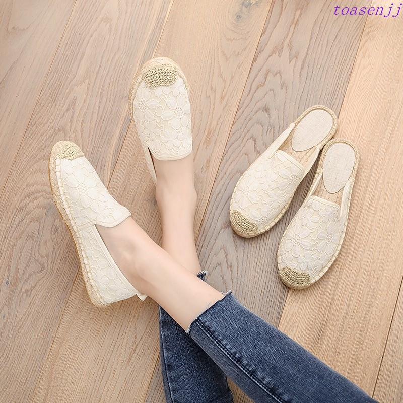 【帆布半托·現貨 】小香風漁夫鞋女平底亞麻草編帆布透氣一腳蹬懶人半拖女鞋外穿