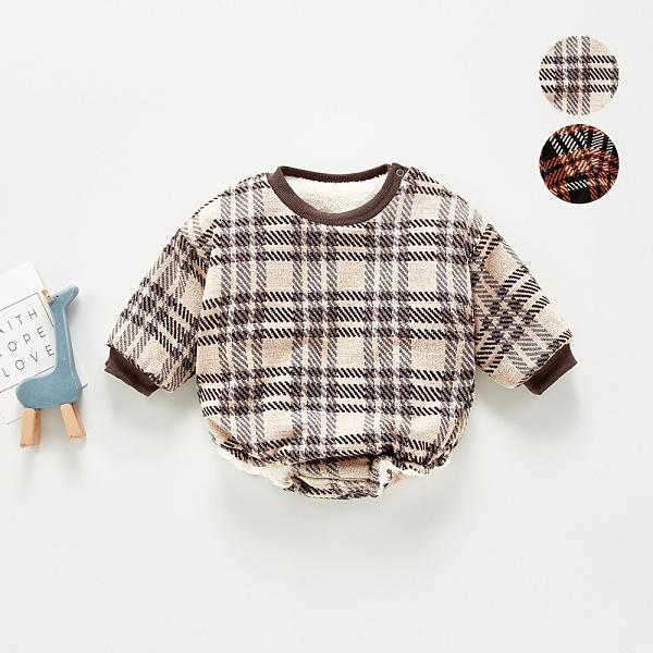 英倫風格紋厚刷毛肩扣長袖包屁衣 包屁衣 保暖 嬰兒 新生兒 寶寶 男童 女童 兒童 現貨 童裝