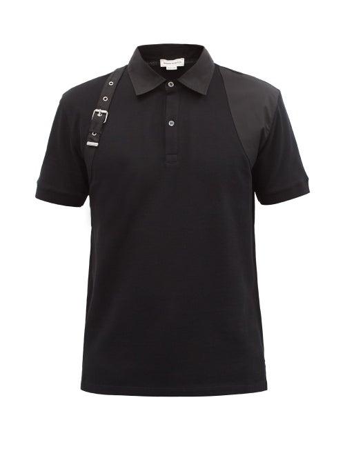Alexander Mcqueen - Harness Cotton-piqué Polo Shirt - Mens - Black