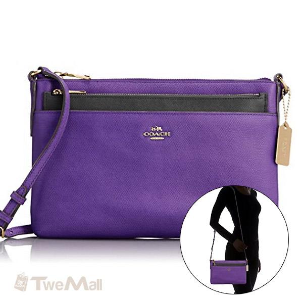 COACH防刮皮革斜背包附收納袋(紫)