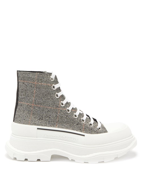 Alexander Mcqueen - Tread Slick Exaggerated-sole Canvas Boots - Womens - Multi