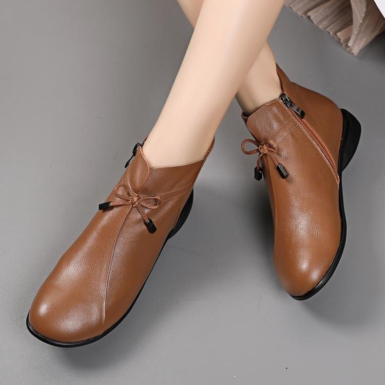 真皮平底靴子女春秋復古圓頭舒適軟底單靴大碼英倫休閒小短靴裸靴