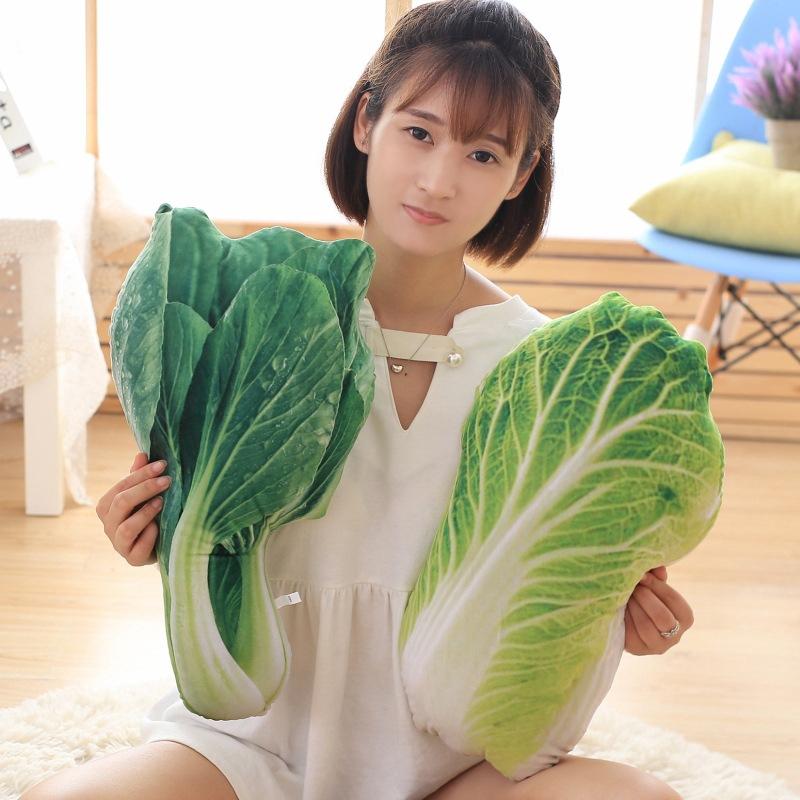 創意仿真蔬菜抱枕個性毛絨玩具大白菜青菜土豆西蘭花公仔玩偶靠墊