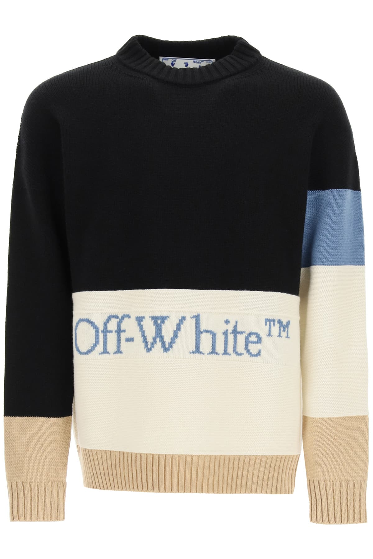 OFF-WHITE COLOR BLOCK SWEATER WITH LOGO S Blue, White, Beige Wool