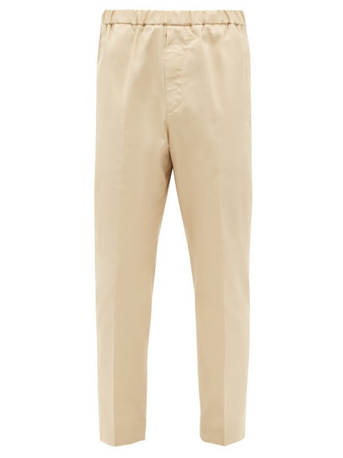 Jil Sander - Elasticated-waist Cotton-gabardine Trousers - Mens - Beige