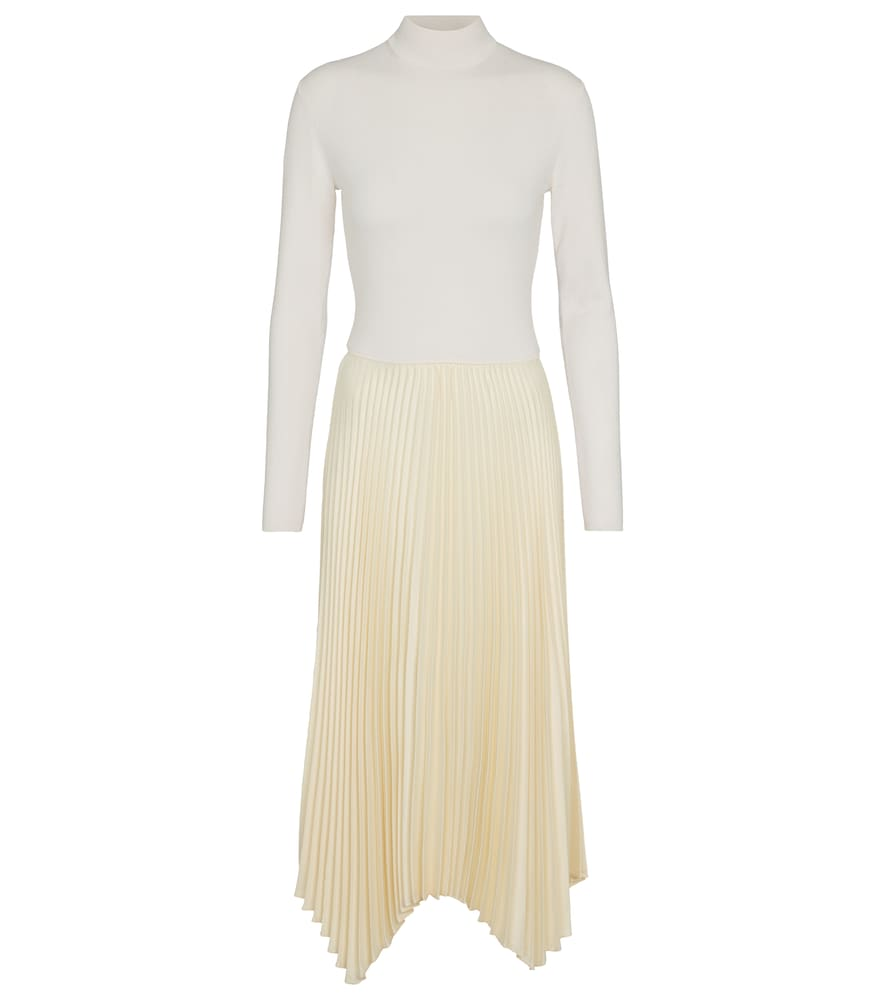 Wool-blend turtleneck midi dress