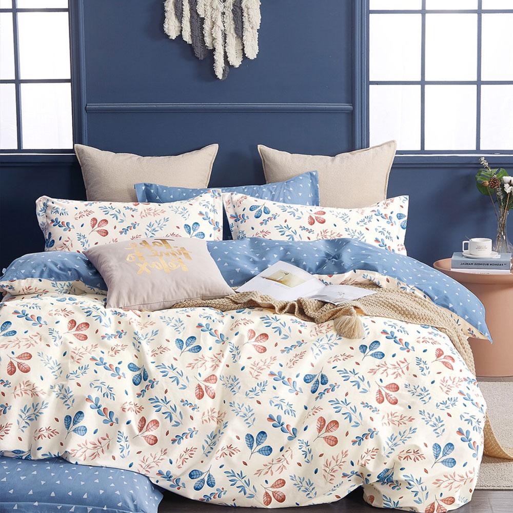 床包被套組(鋪棉兩用被套)-雙人 / 精梳純棉四件式 / 梧桐暖葉 台灣製