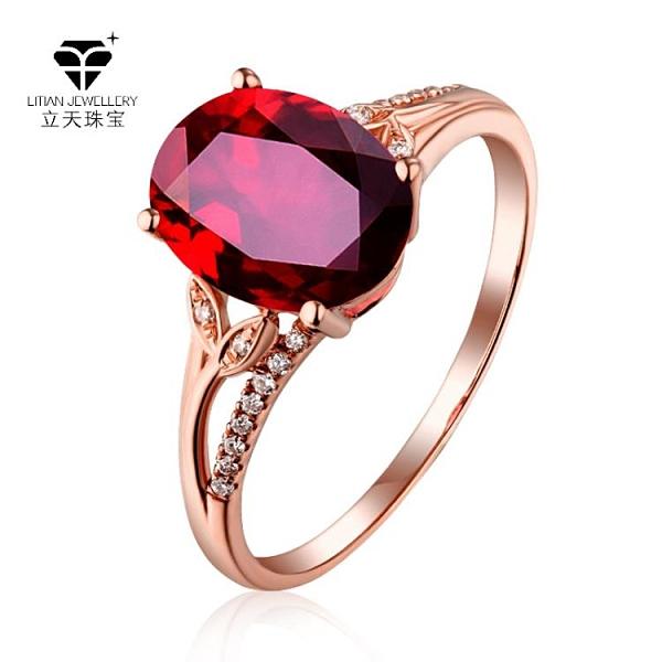 氣質時尚花形鴿血紅紅碧璽合成開口戒指女 鍍18K玫瑰金色指環 3C數位百貨
