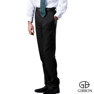 GIBBON 英倫風格紋內刷毛平面西裝褲‧黑灰格