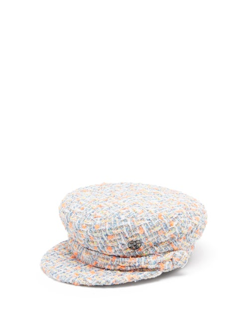 Maison Michel - New Abby Tweed Baker Boy Cap - Womens - White Multi